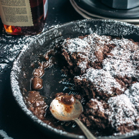 Cocoa Dumplings with Bourbon Maple Sauce