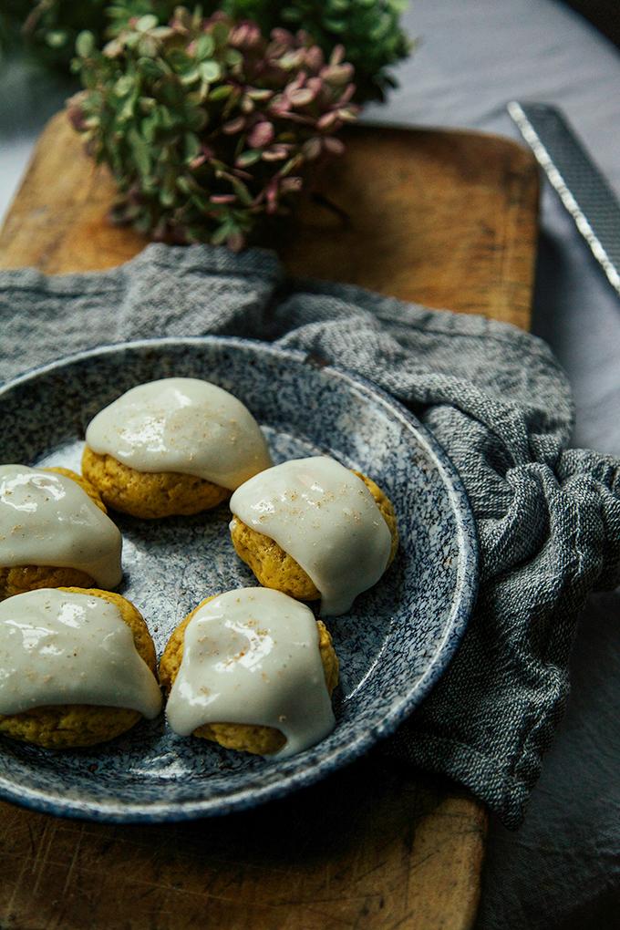 vegan pumpkin cookies w/ cream cheese glaze // Baked - the blog