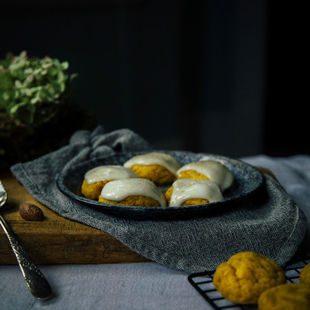 vegan pumpkin cookies w/ cream cheese glaze // Baked - the blog