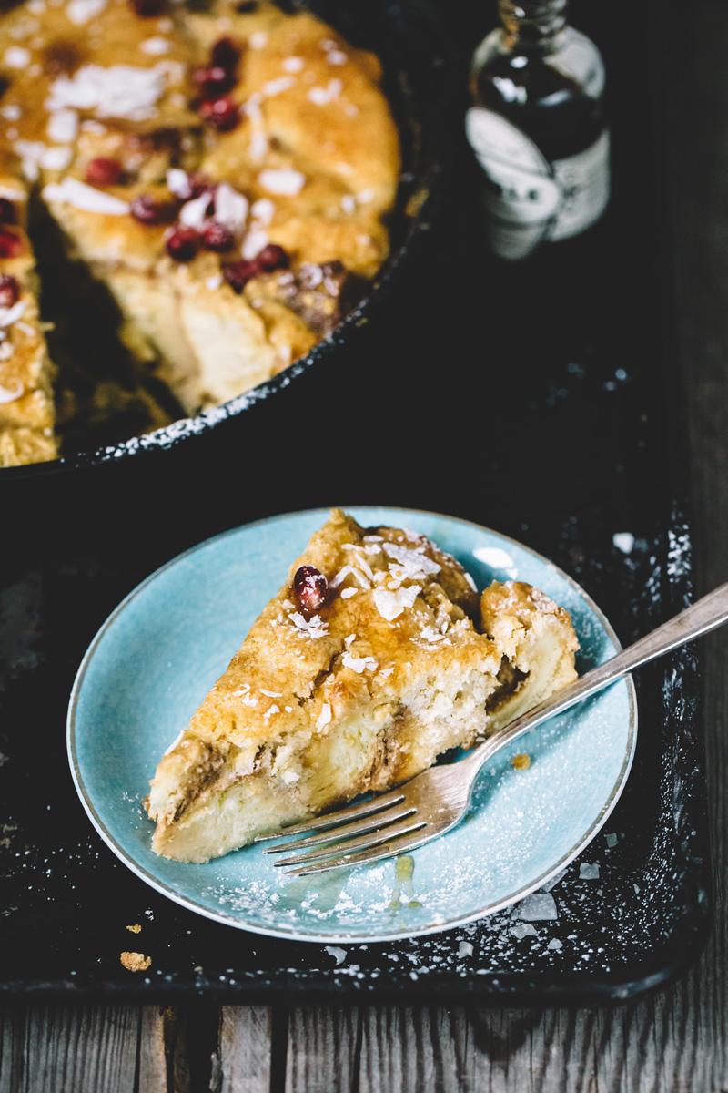 Orange Macadamia Challah Bread Pudding with Coconut Crme (dairy free)