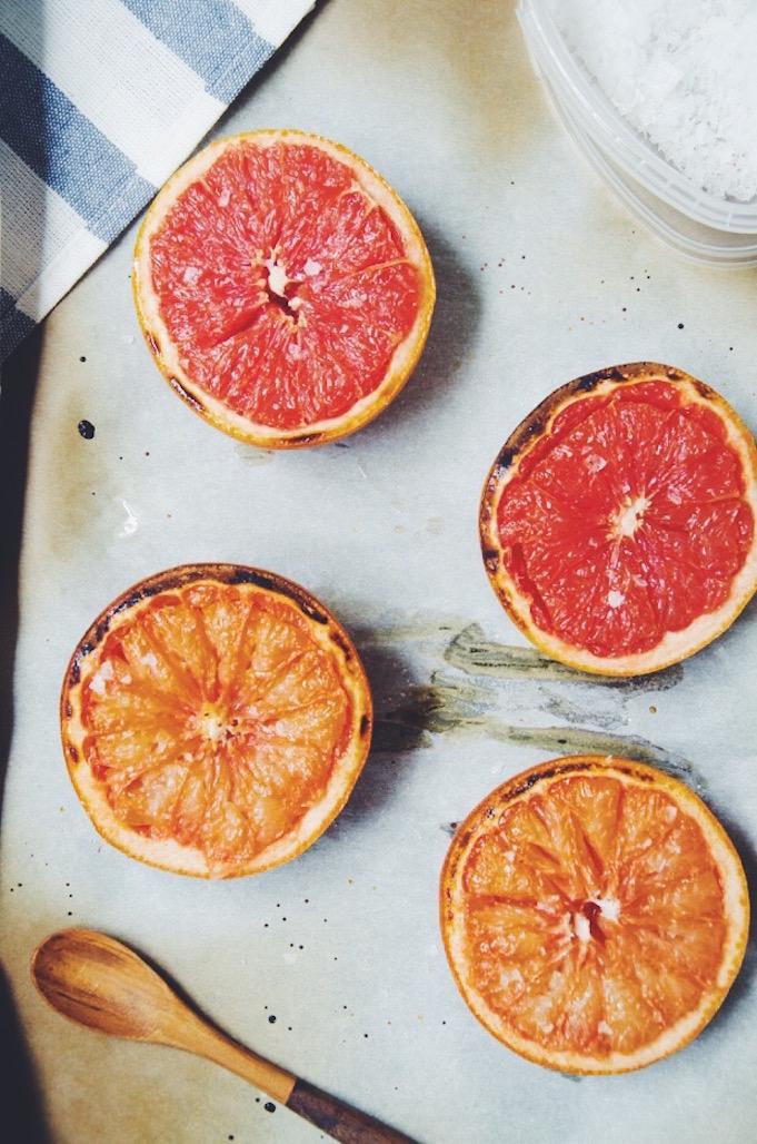 over head shot of baked grapefruit