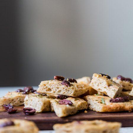 Spelt Foccacia with Kalamata Olives & Rosemary - Baked