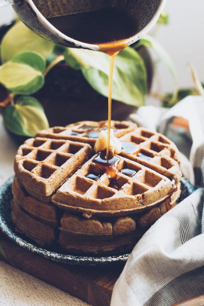 Multigrain Banana Spice Waffles with Espresso Maple Syrup