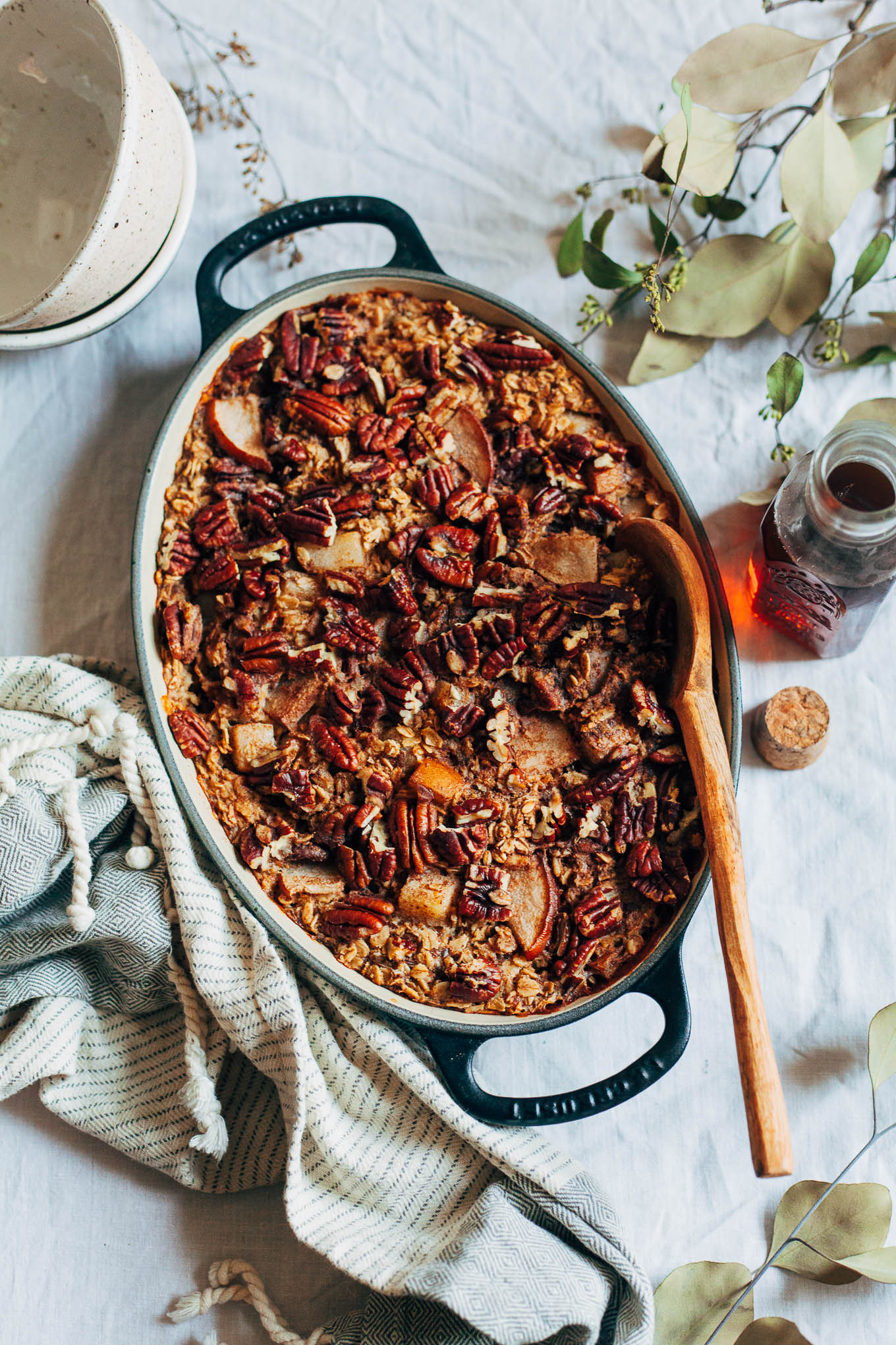 Overhead shot of an oval dish of speculaas spiced baked oatmeal.