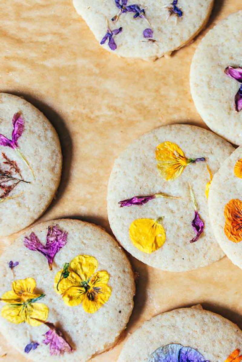 Cookies with flower petals baked on top.