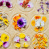 Vegan shortbread cookies, cut out and unbaked, topped with edible flowers
