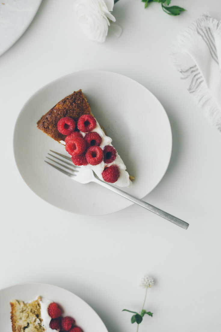 Rhubarb Cornmeal Cake with Maple Cinnamon Whipped Cream