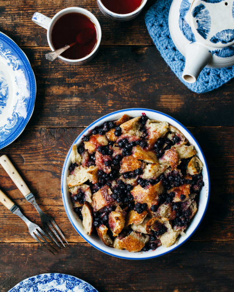 Sourdough bread pudding with blueberries.
