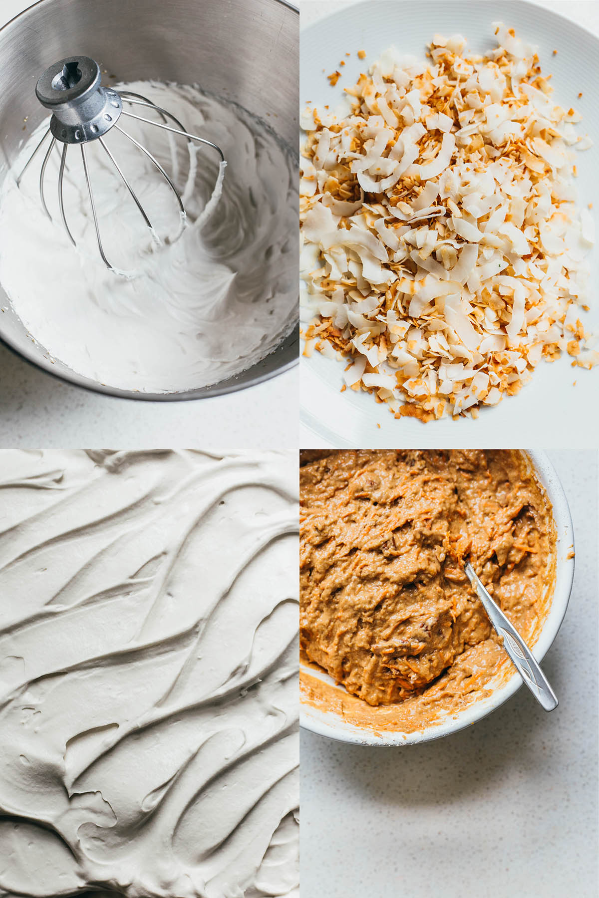 Four images, clockwise from top left: whipped cream in a bowl, toasted coconut flakes, cake batter, and whipped cream close up.