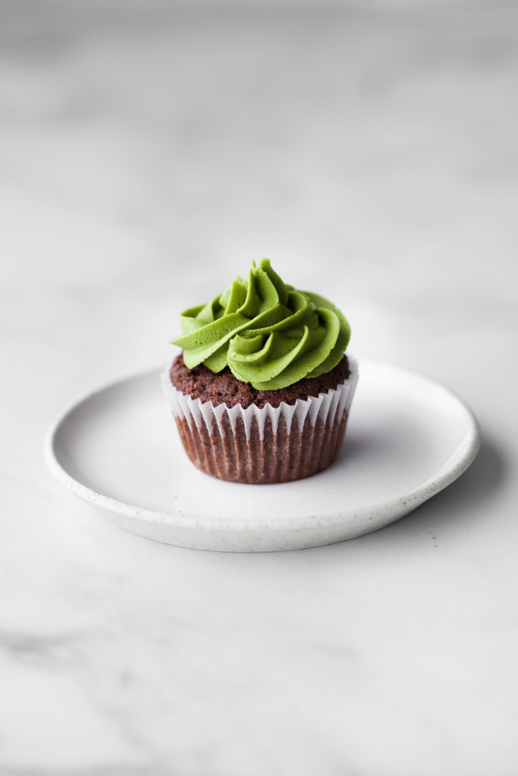 Vegan Chocolate Matcha Cupcakes head on