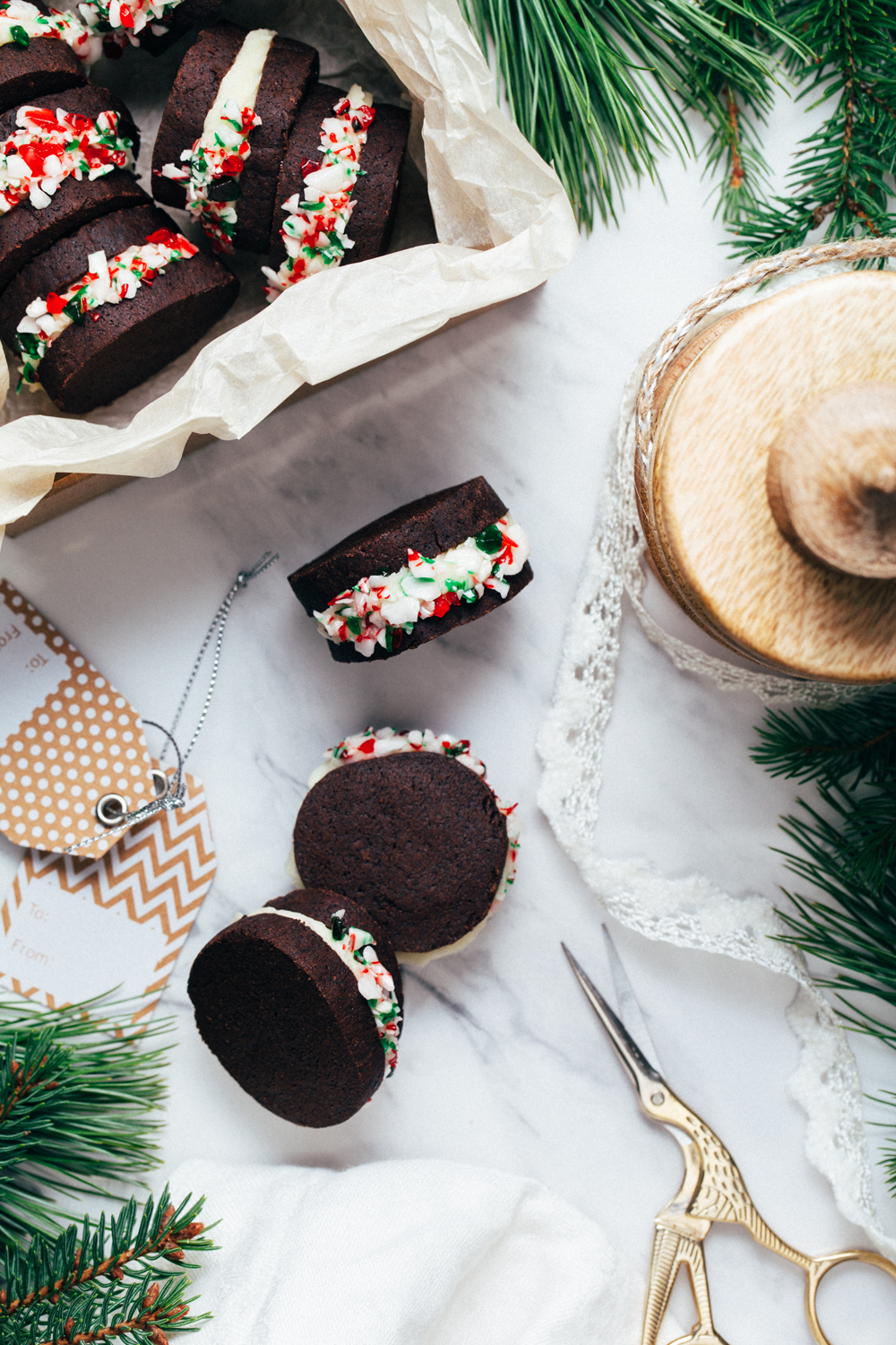 Chocolate Shortbread Sandwich Cookies with Vanilla Mint Frosting