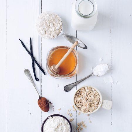 overhead shot of honey with ingredients