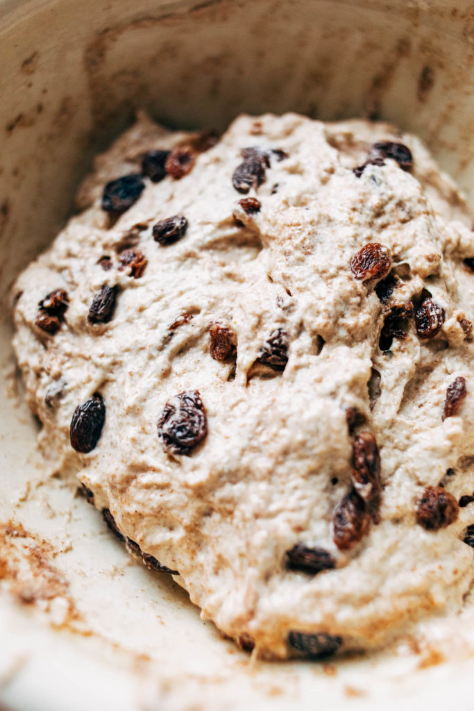 overhead closeup image of bread dough mixed with raisins and cinnamon.