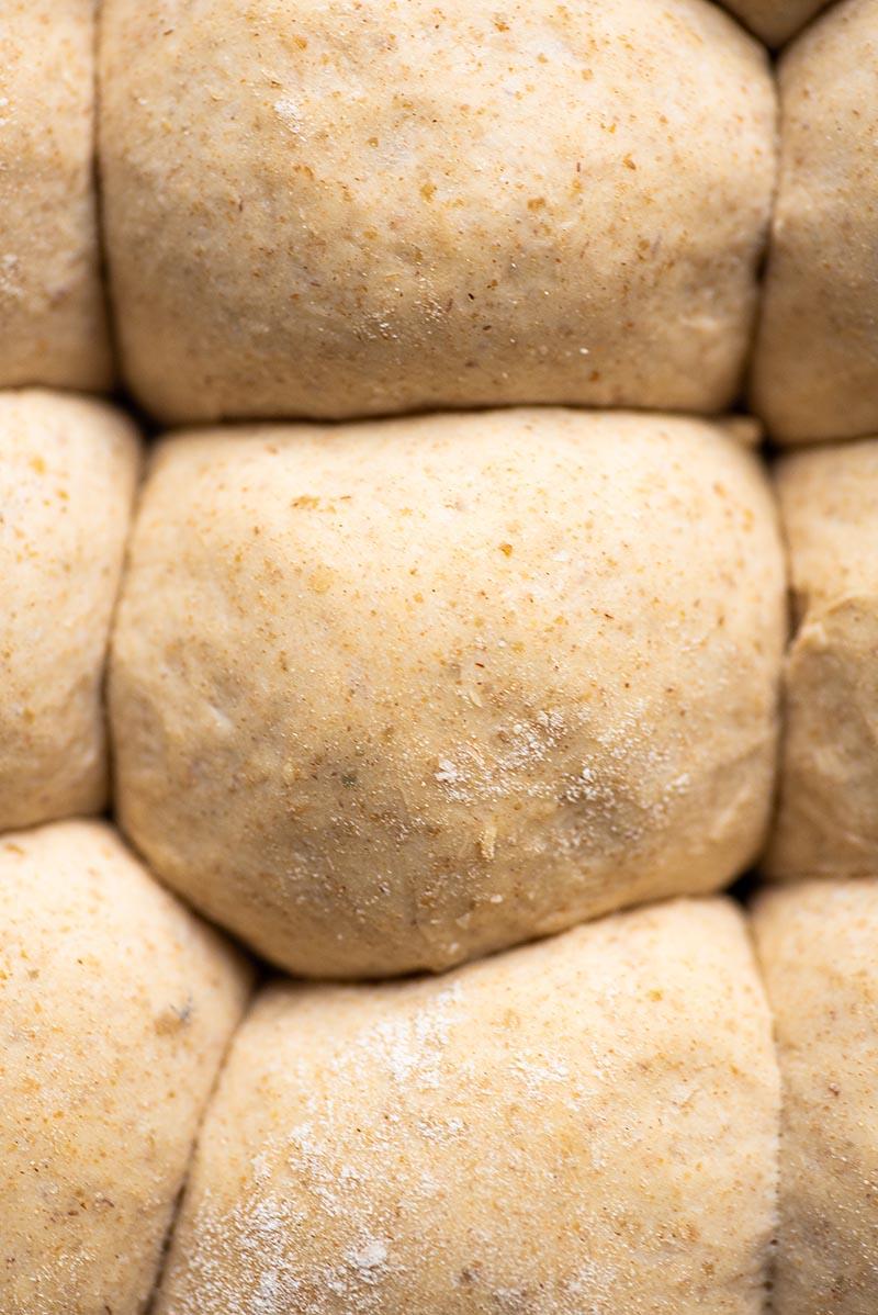 close up image of bread dough balls.