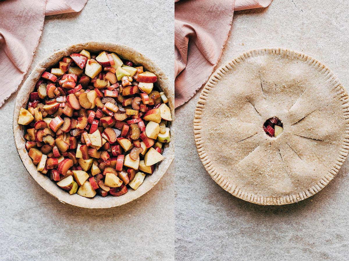 Step by step photos to make pie.