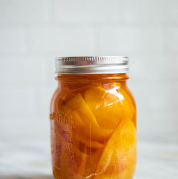 Candied peel in a mason jar.