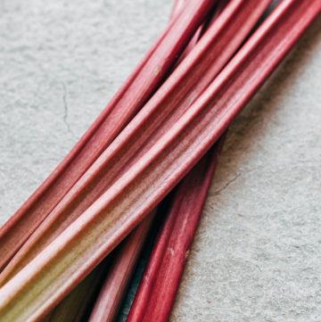 Whole rhubarb stalks.