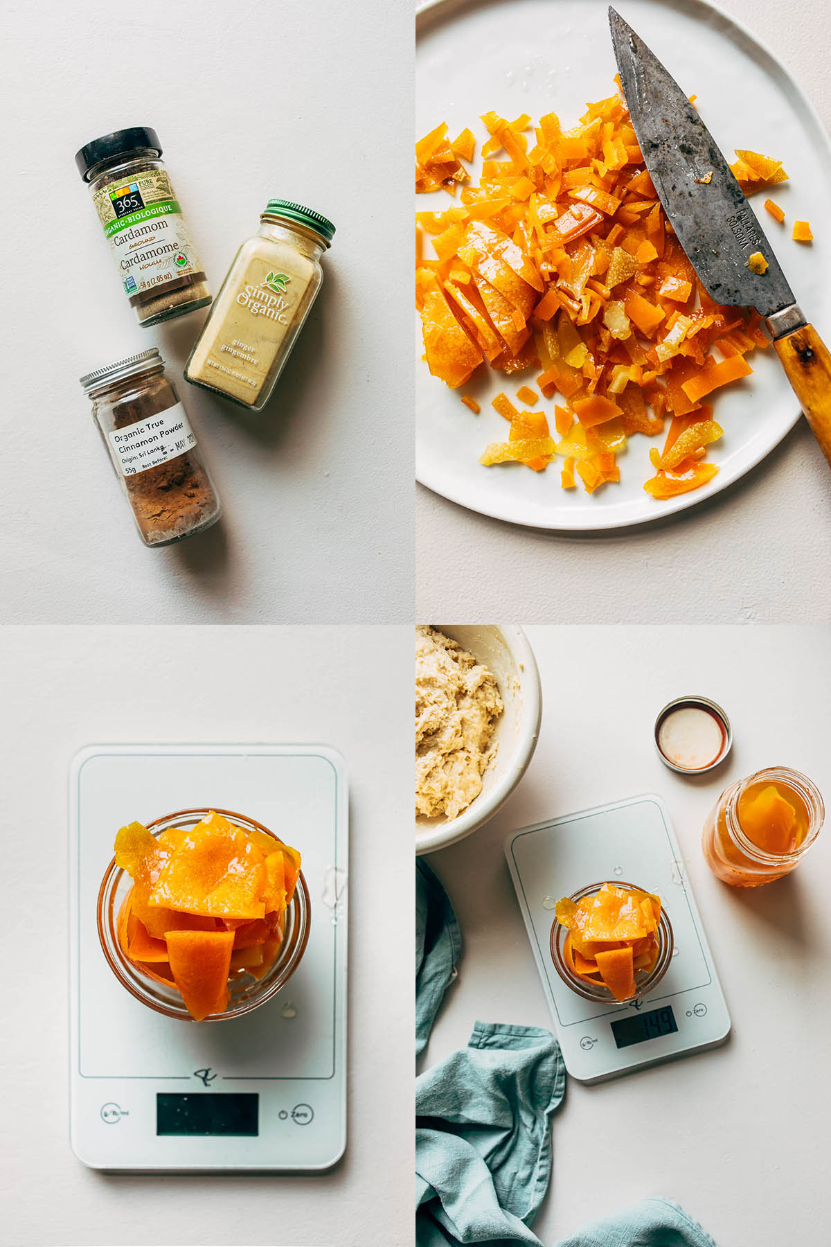 Four images, clockwise from upper left: three spice bottles on white background, chopped mixed candied peel on a small plate, candied mixed peel in a jar, and mixed peel weighed on a scale.