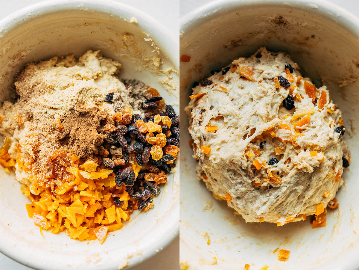Two images, from left: Dough with candied peel and dried fruit on it, and mixed peel and fruit mixed into the dough.