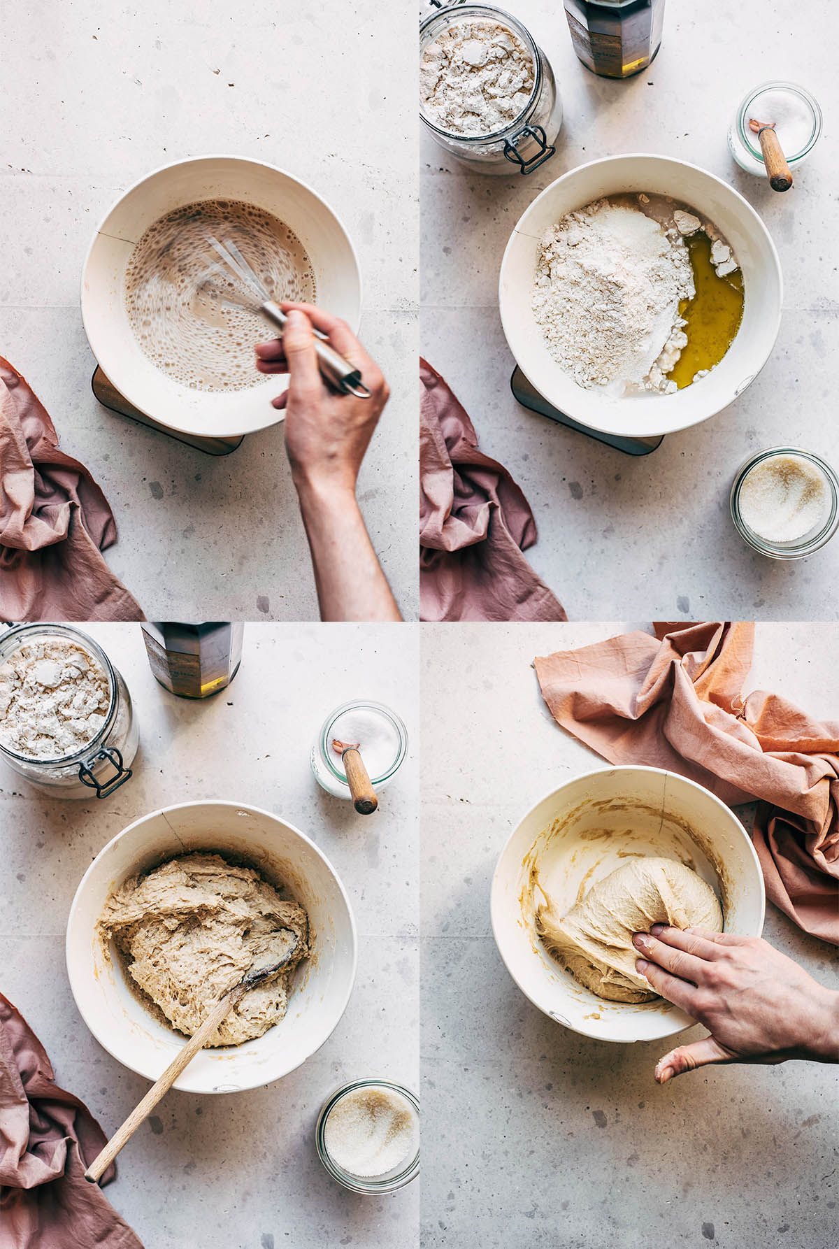 Four images showing steps for sourdough naan dough being mixed.