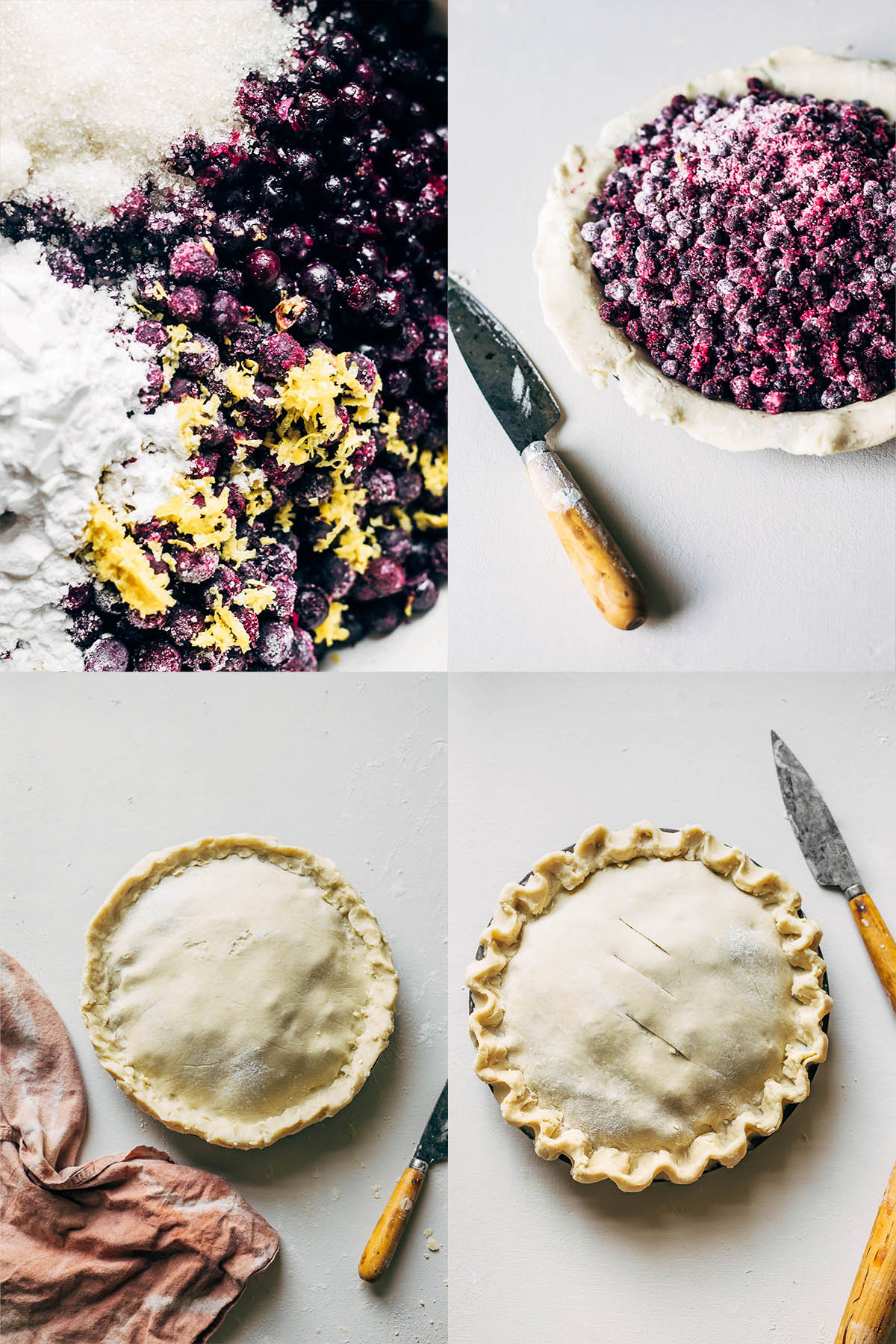 Four images showing frozen blueberries mixing with lemon zest and cornstarch, blueberry pie filling in a pie pan, and a pie with the top crust on.