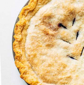 Overhead shot of one half of a baked pie.