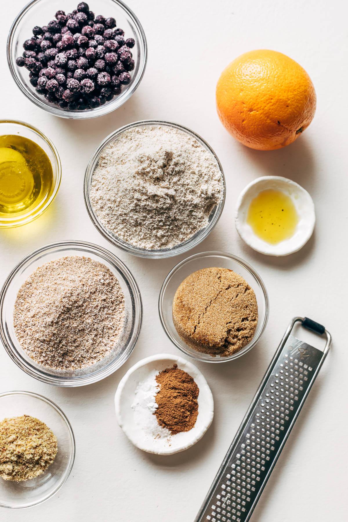 Ingredients for vegan bran muffins.
