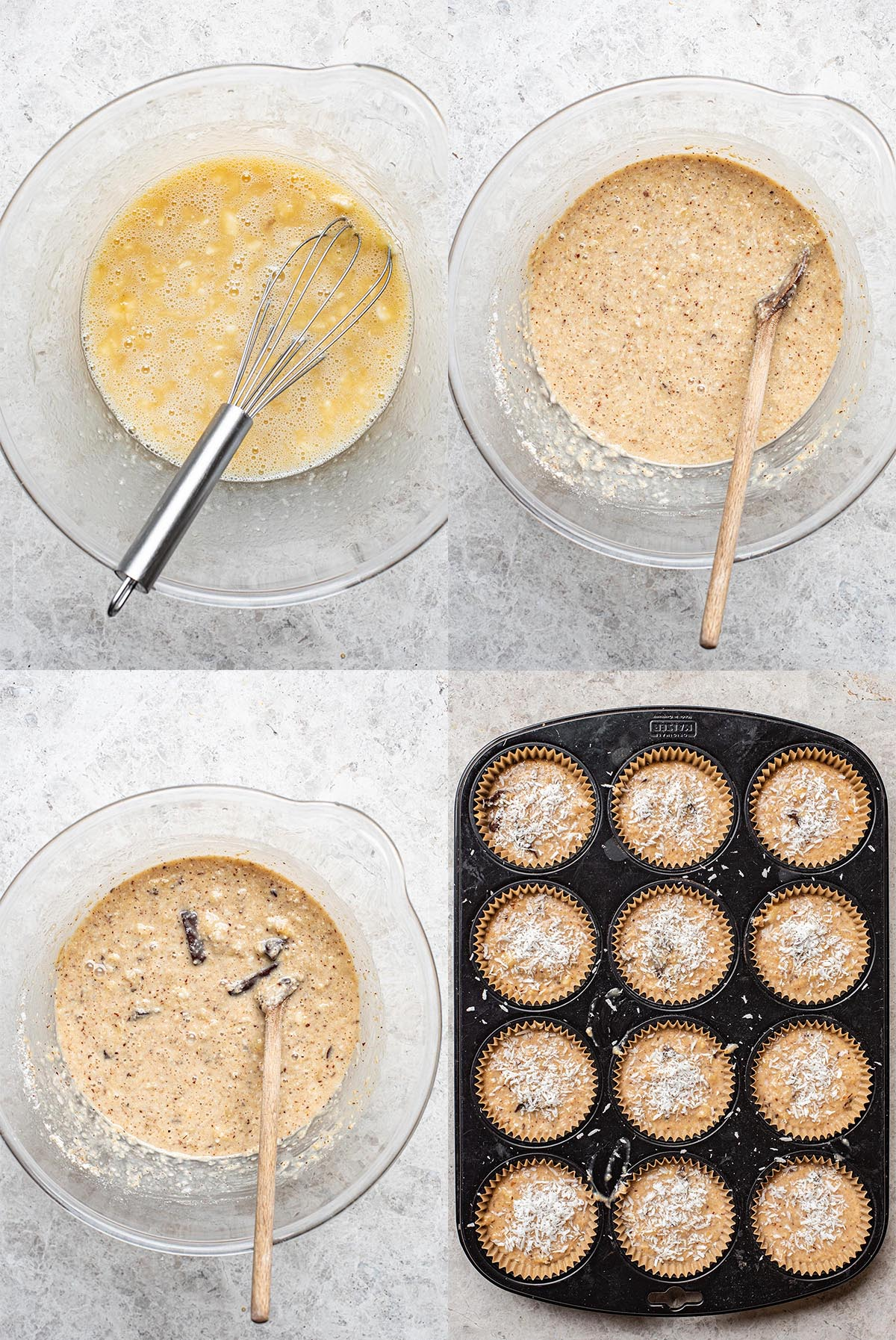 Steps for almond flour banana muffins: Mixing the wet ingredients, adding the flours, adding the chocolate, and in the muffin tin.