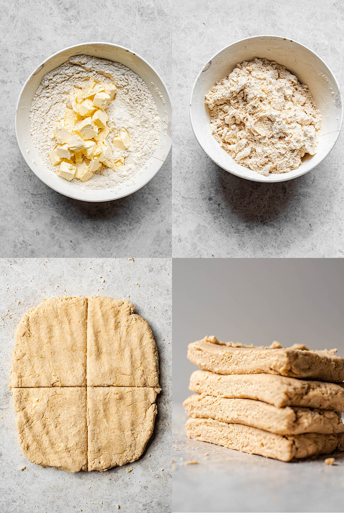 Sourdough biscuit steps: mixing butter into dry ingredients, cutting the dough into four, and pressing the squares on top of each other.