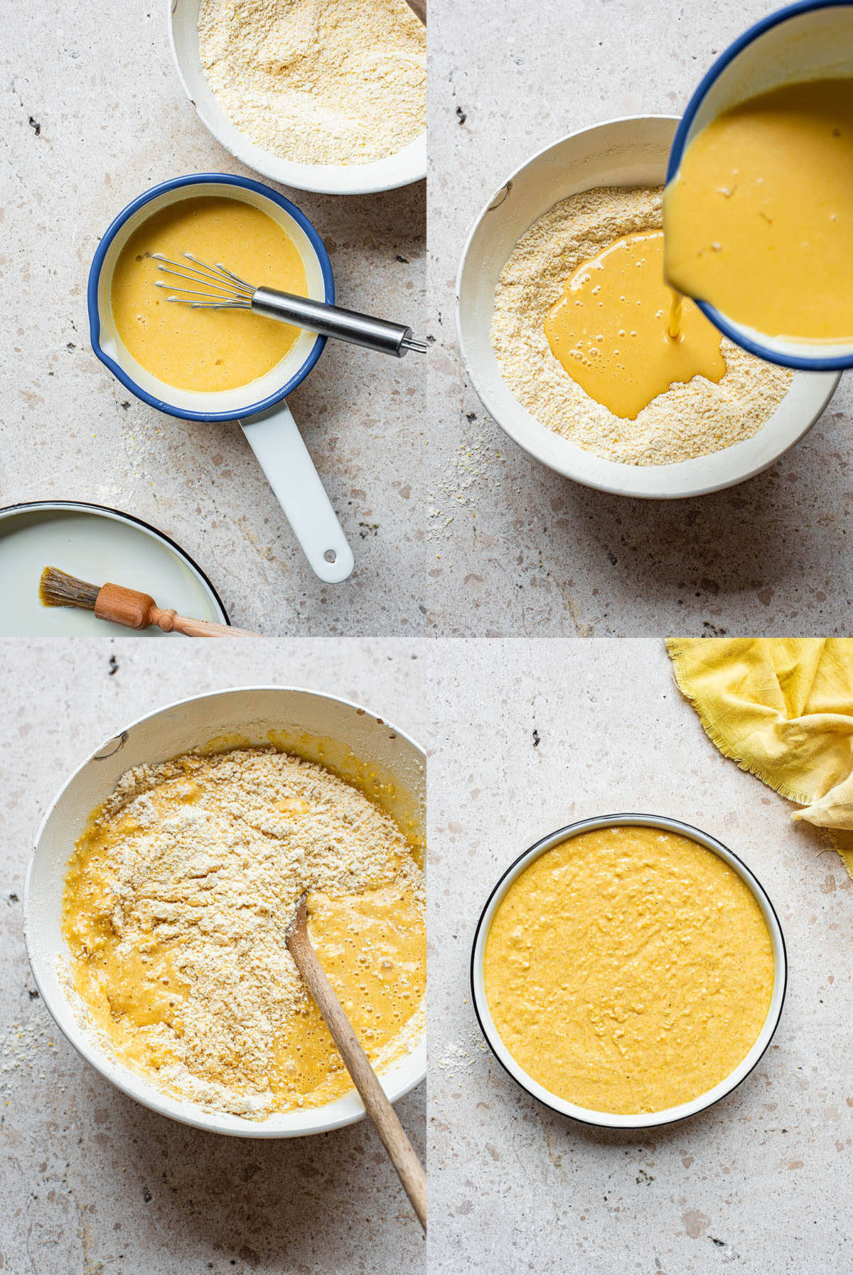 Sourdough cornbread steps: liquids in a small pot, being poured into the dry ingredients, mixing, and the batter in a round in.
