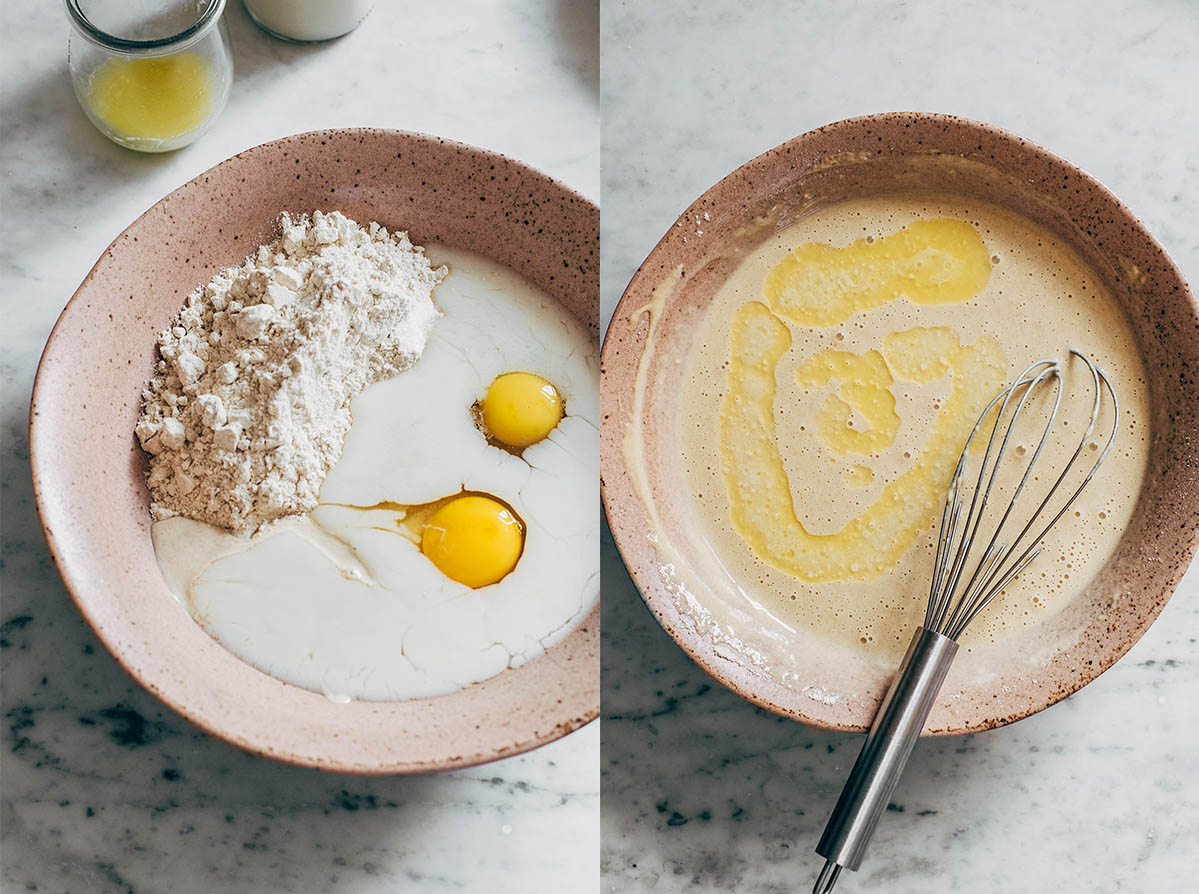 Two side by side images - one of unmixed crepe batter, and the other after ingredients have been whisked together.