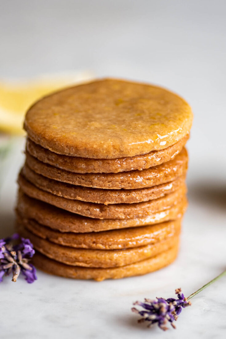 A stack of lemon lavender sugar cookies.
