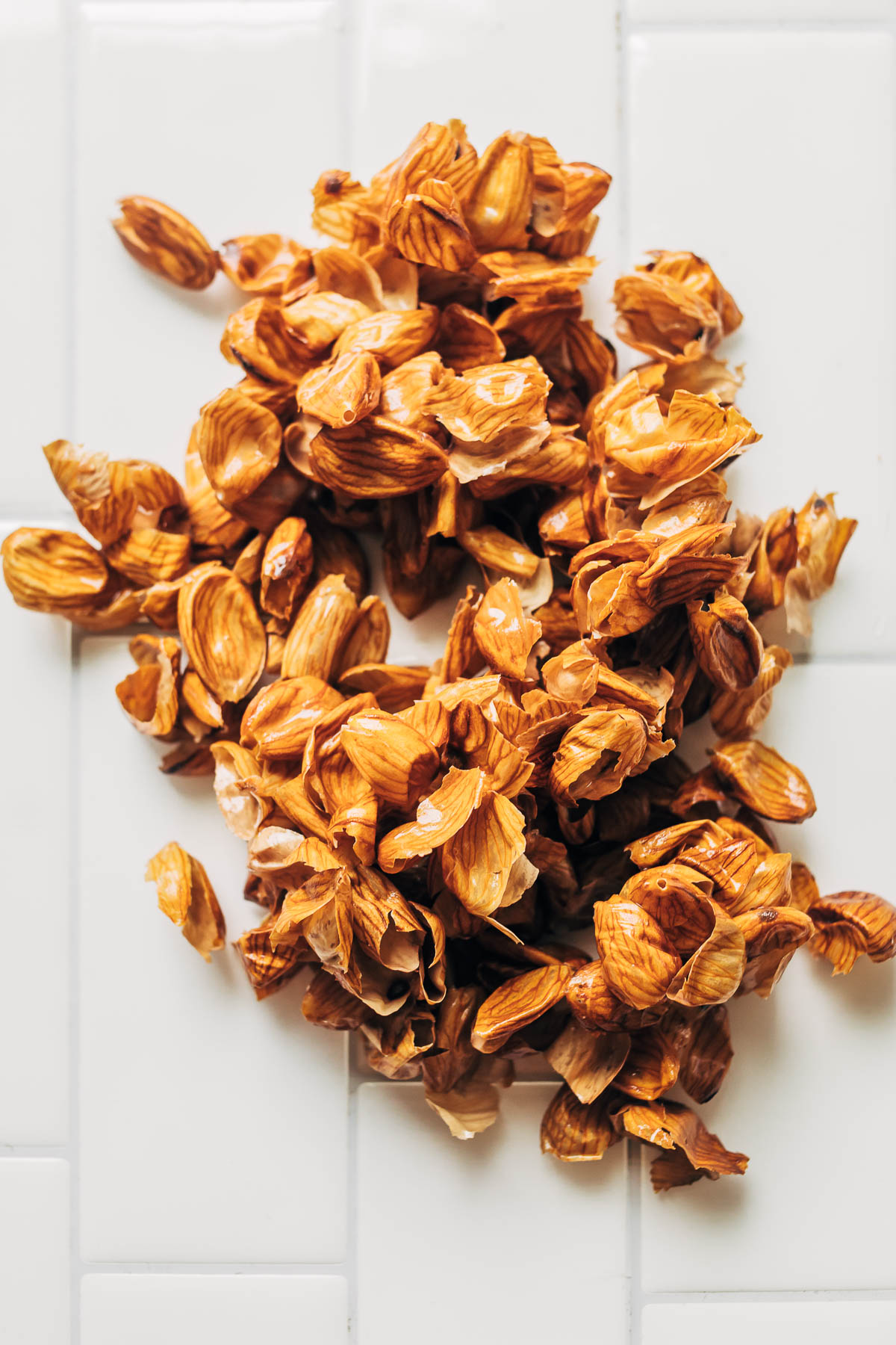 Overhead shot of a pile of almond skins.
