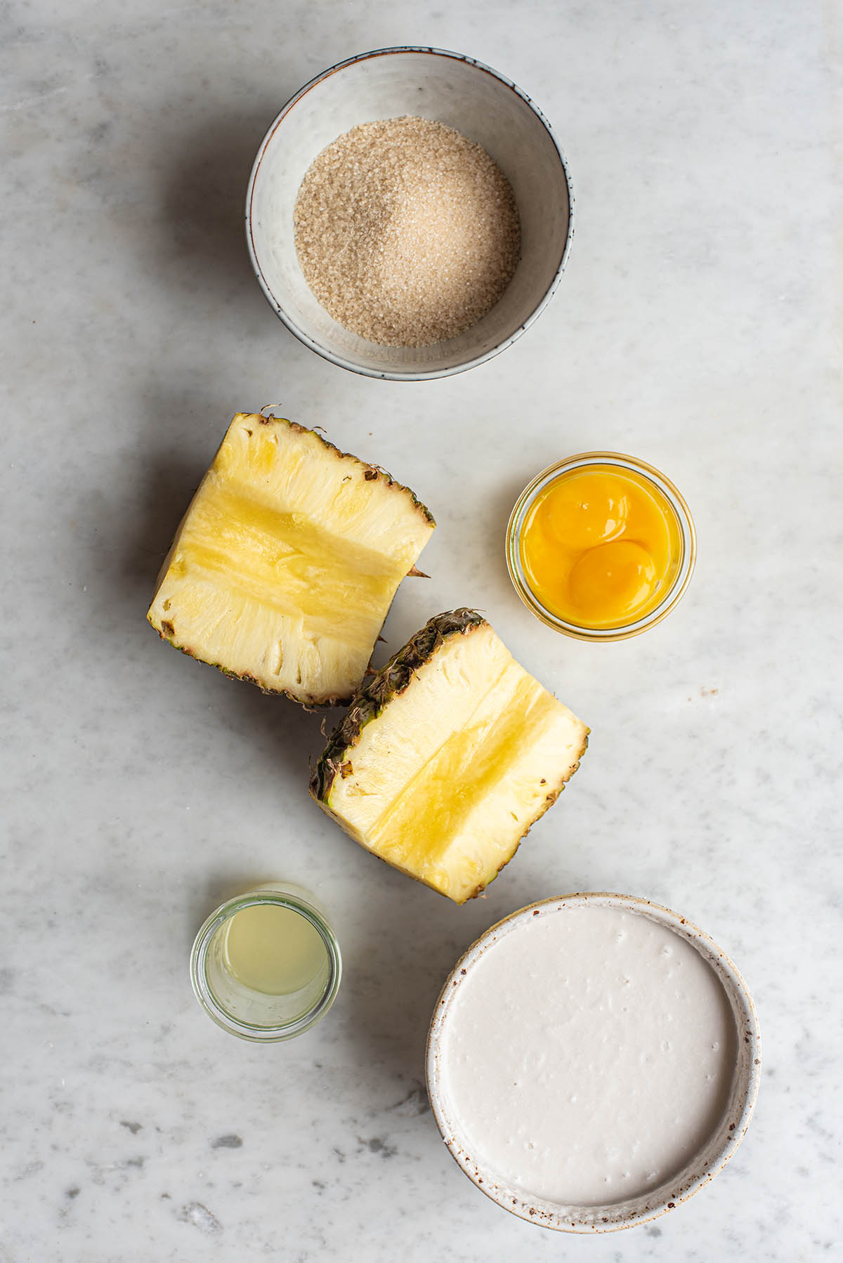 Ingredients to make pineapple ice cream.