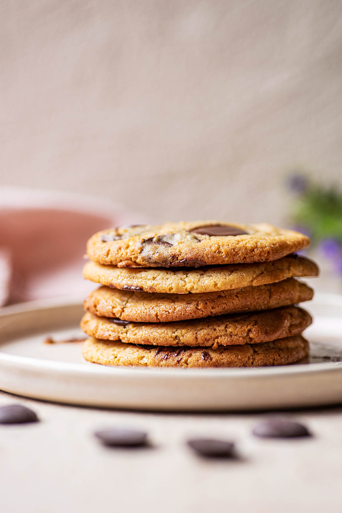 A stack of cookies on a plate.