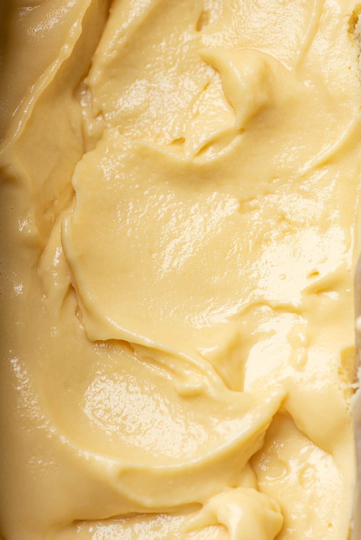Close up of sweet cream ice cream.