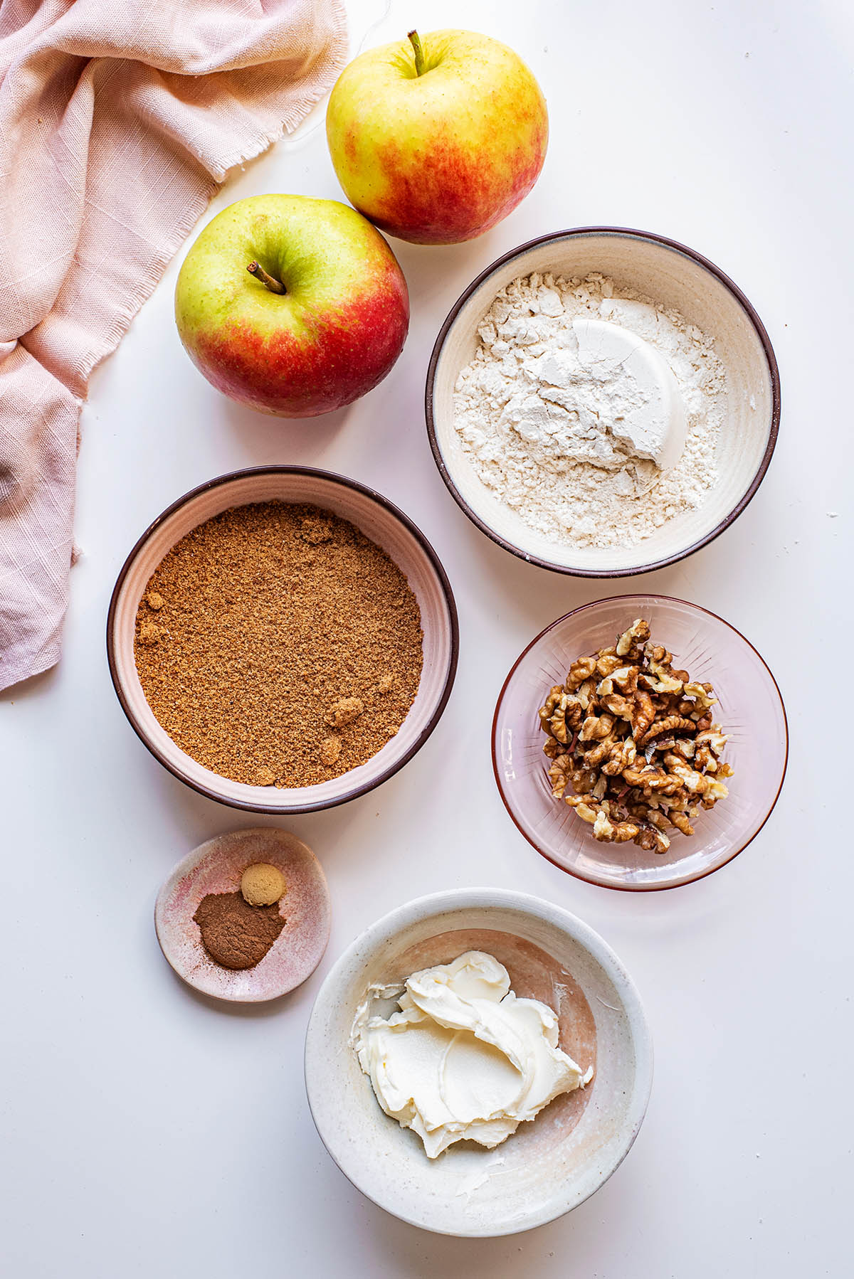 Walnut crumble topping ingredients.