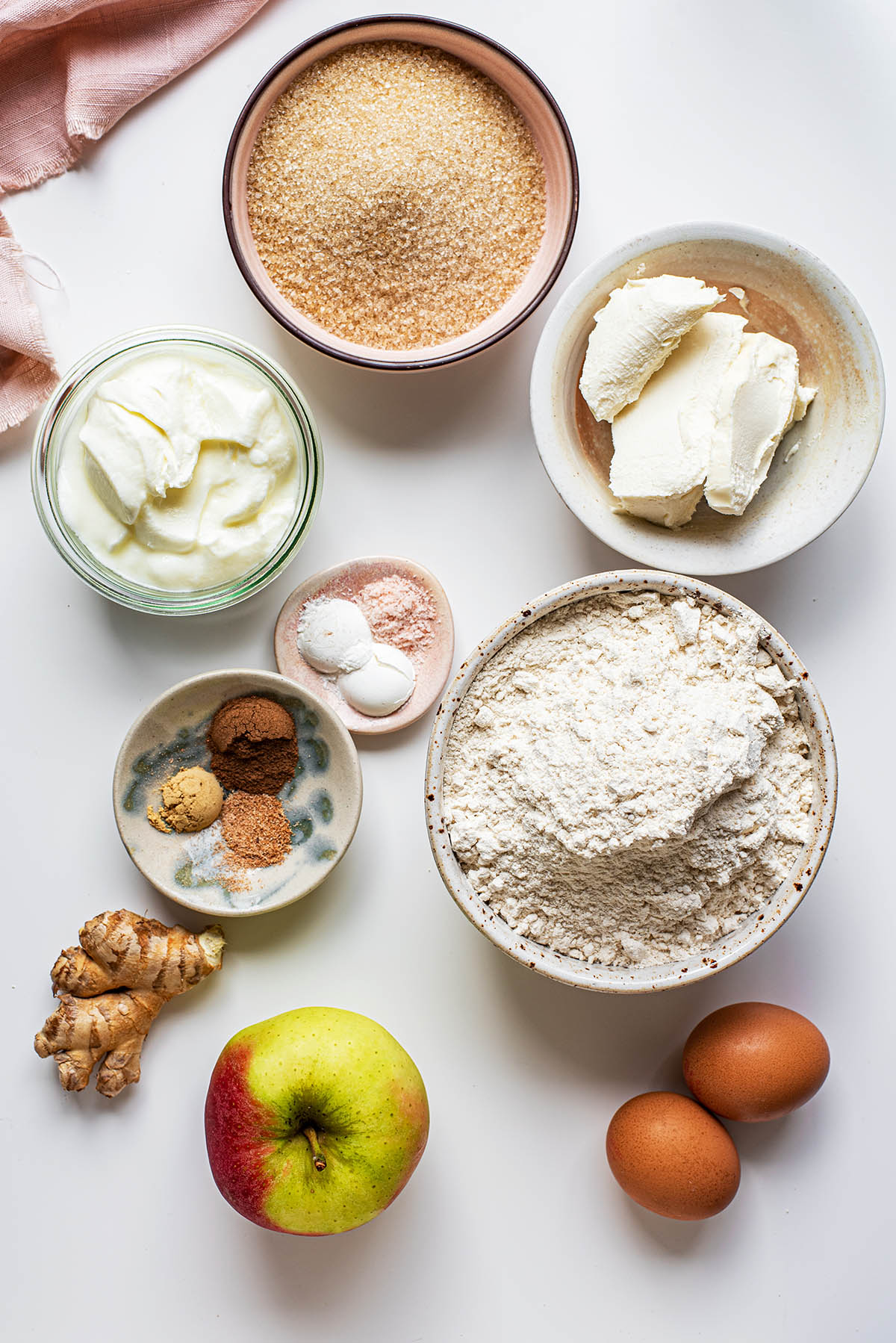Apple cake ingredients.