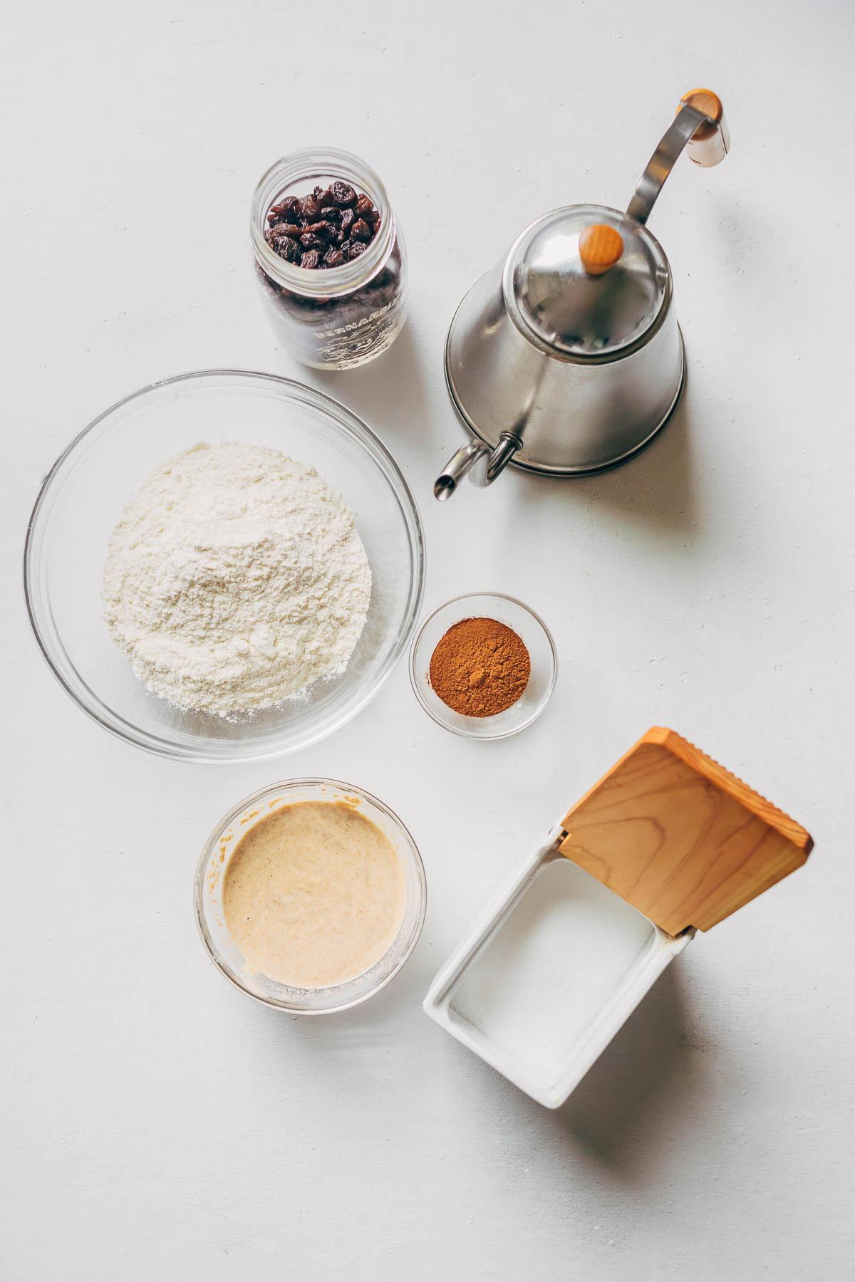 Cinnamon raisin sourdough ingredients.