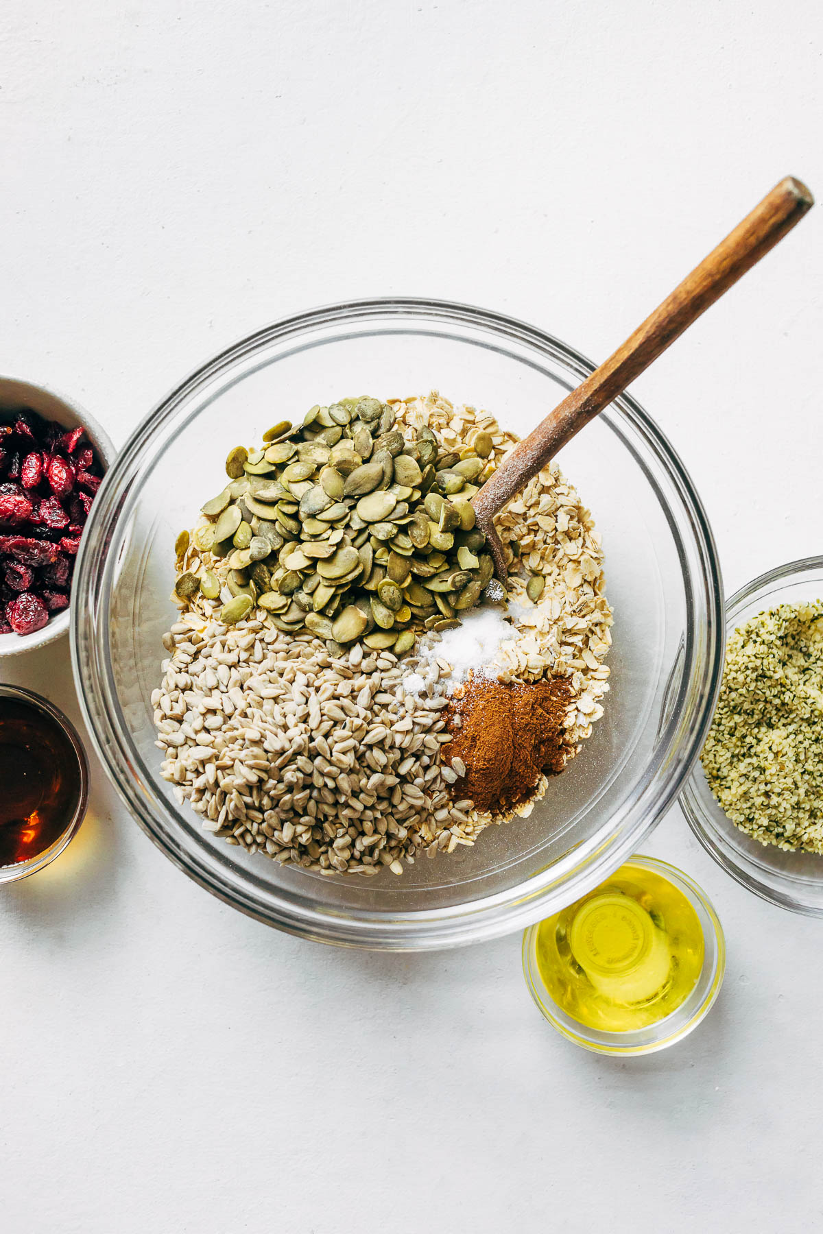 A bowl of oats and seeds.