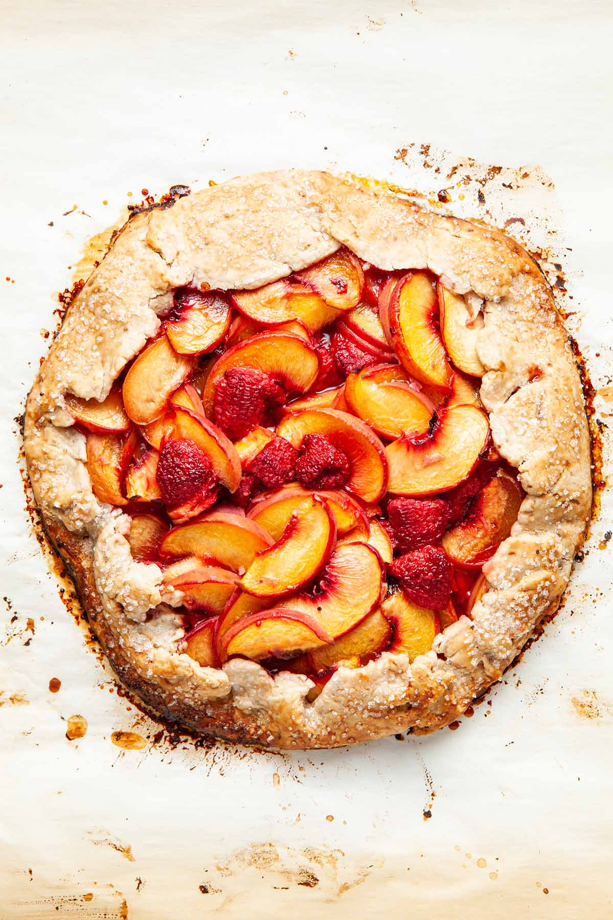 A vegan peach galette after baking.