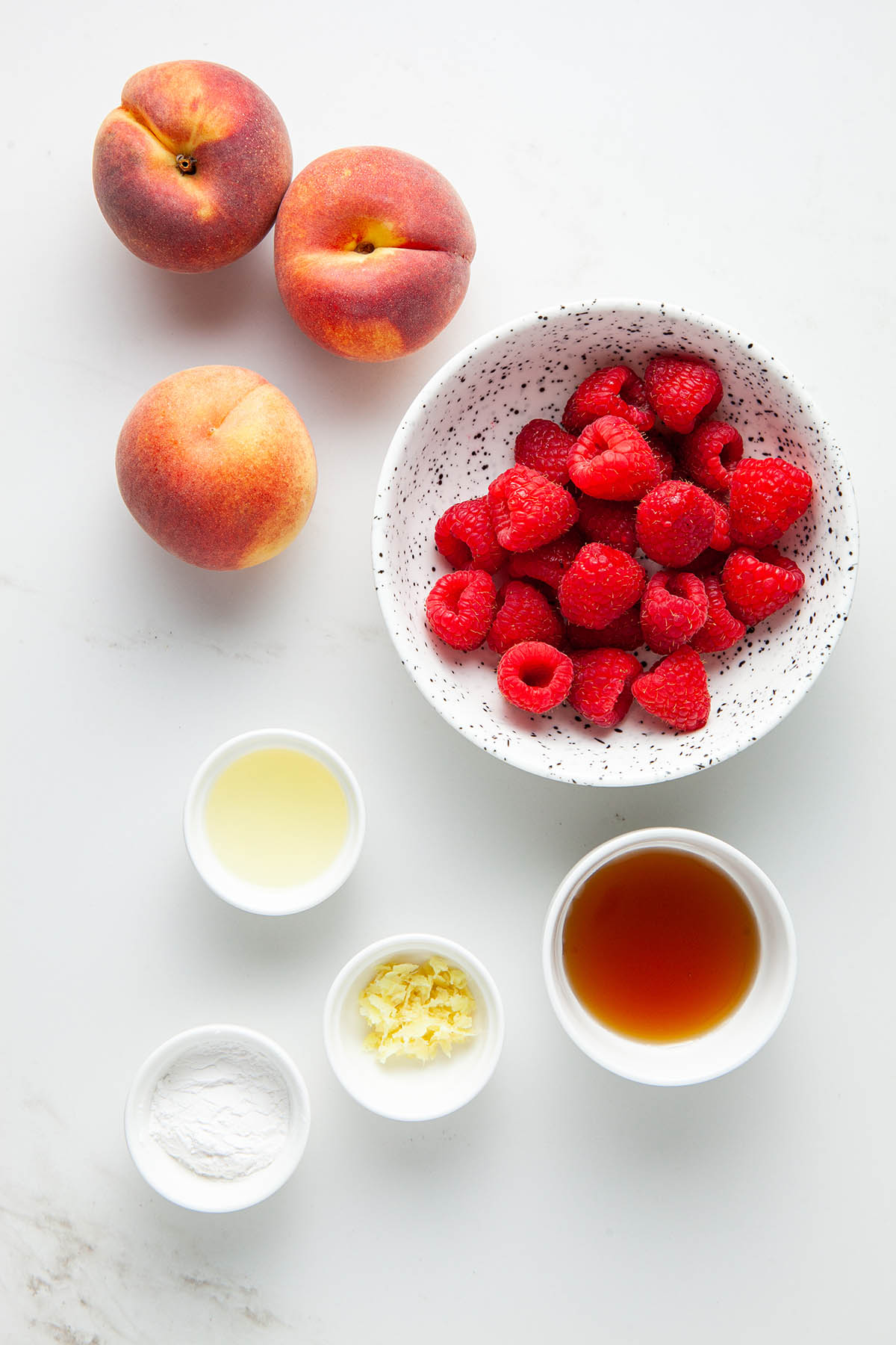 Raspberry peach filling ingredients.