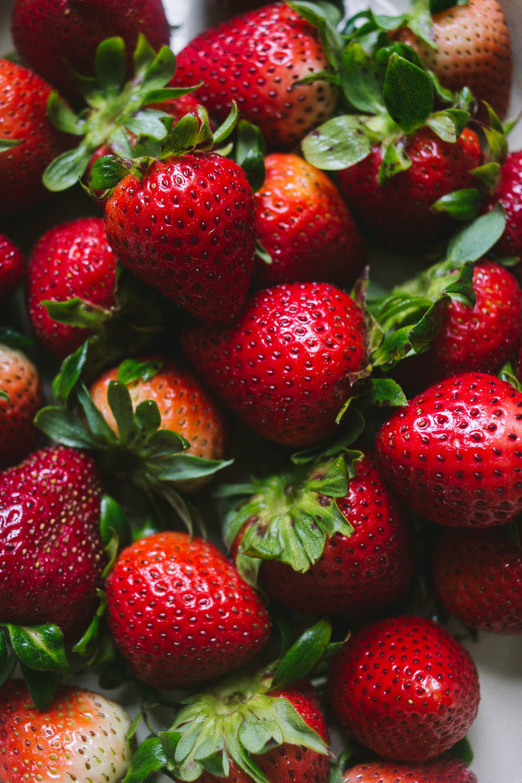 Close up of fresh strawberries.