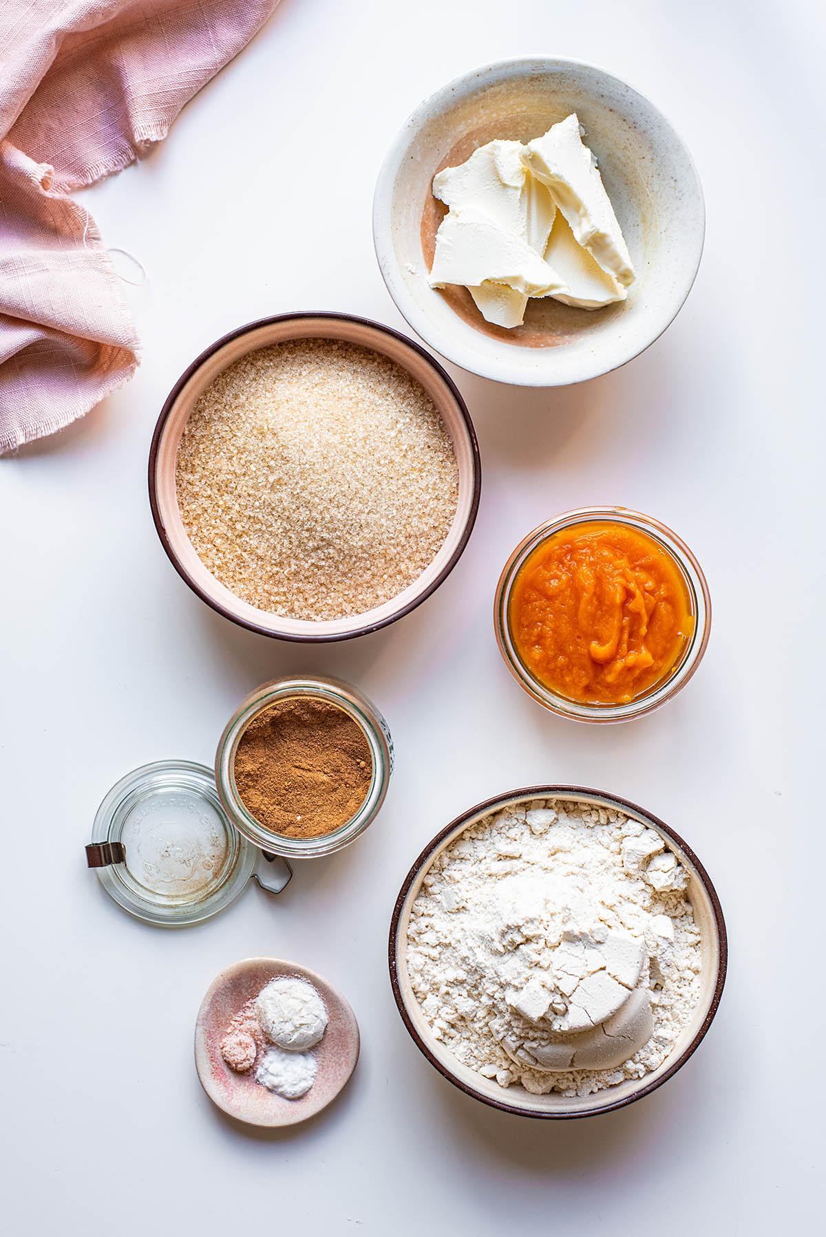 Vegan pumpkin cookie ingredients.