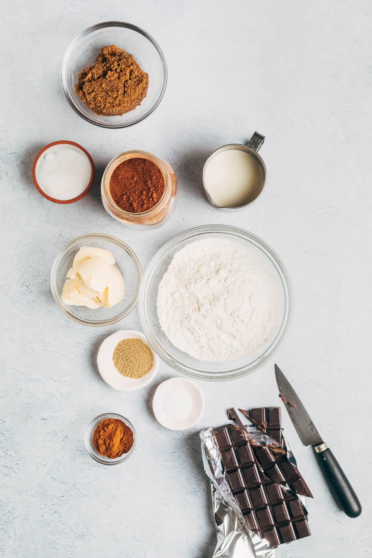Chocolate cinnamon roll ingredients.