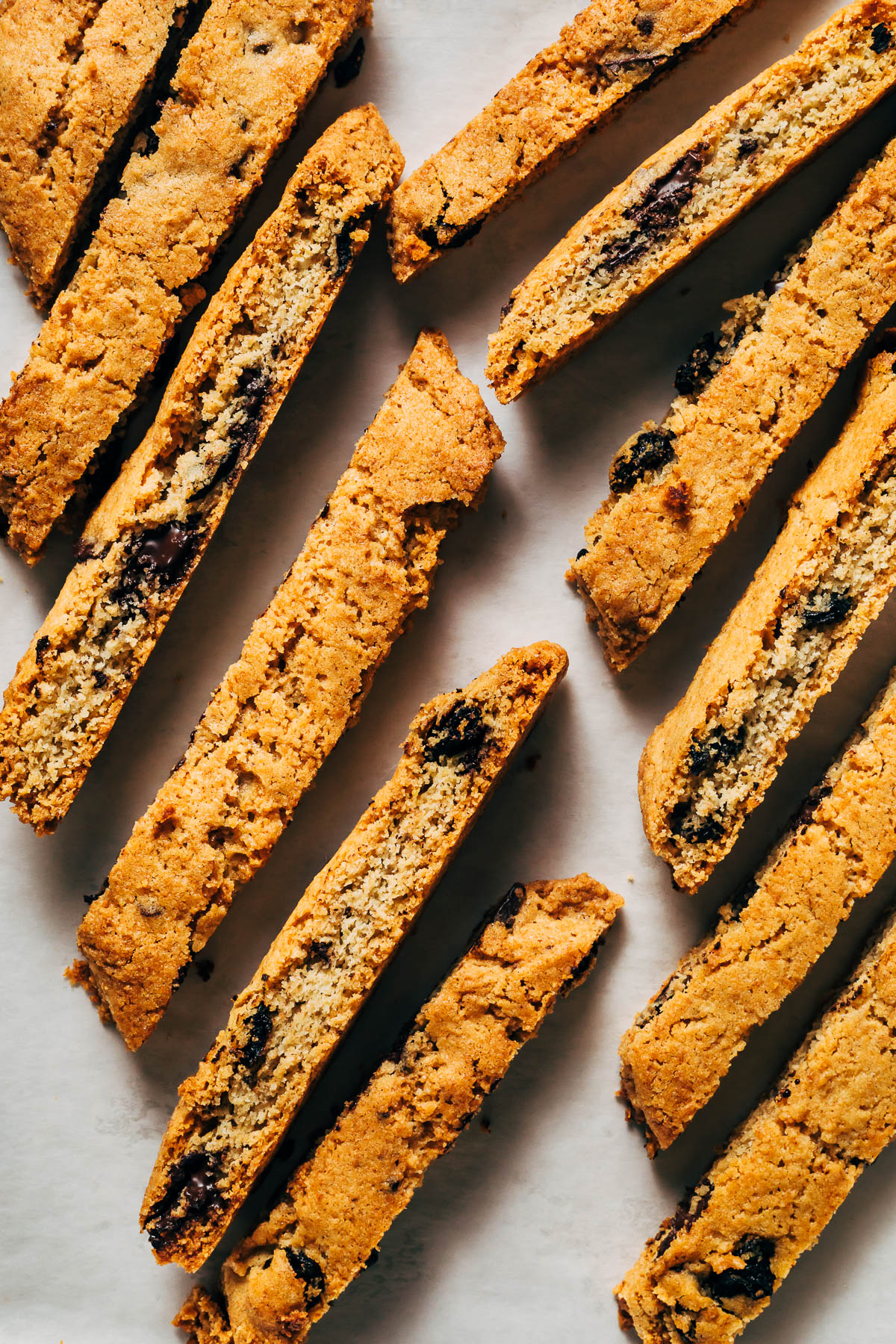 Chocolate chip biscotti on a baking sheet.