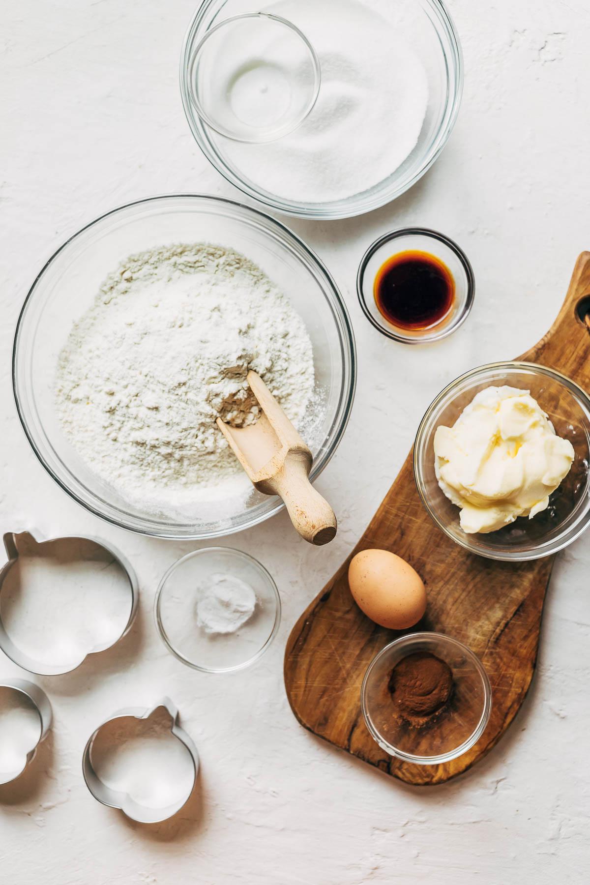 Cinnamon sugar cookie ingredients.