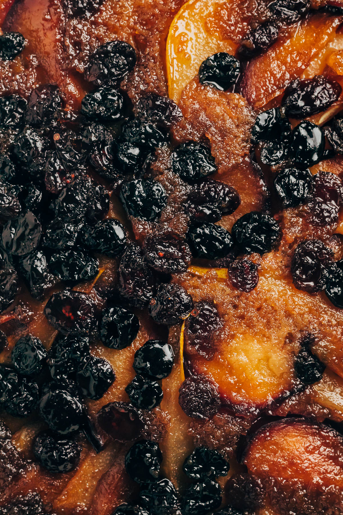 Close up of the top of a cake baked with dried fruit.