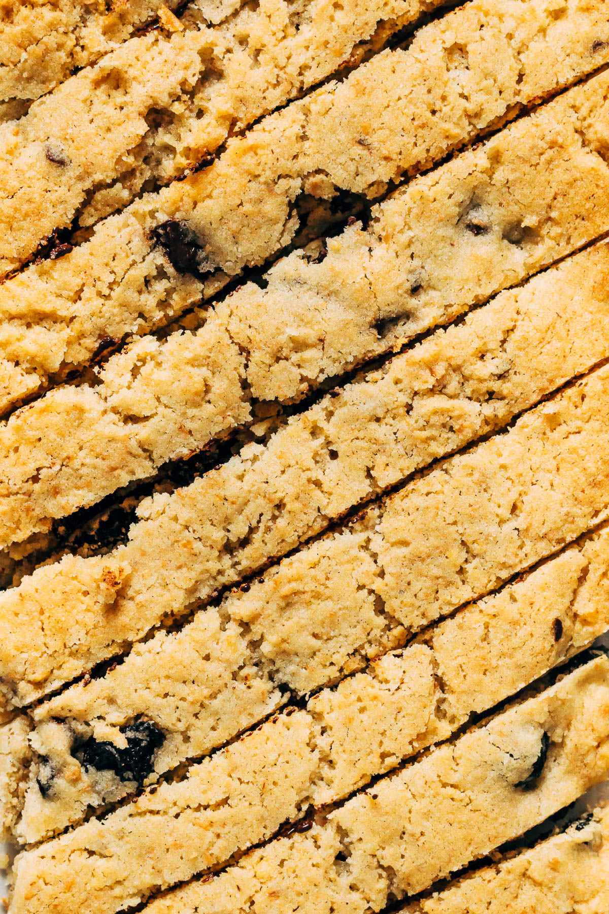 Close up of sliced biscotti after first bake.