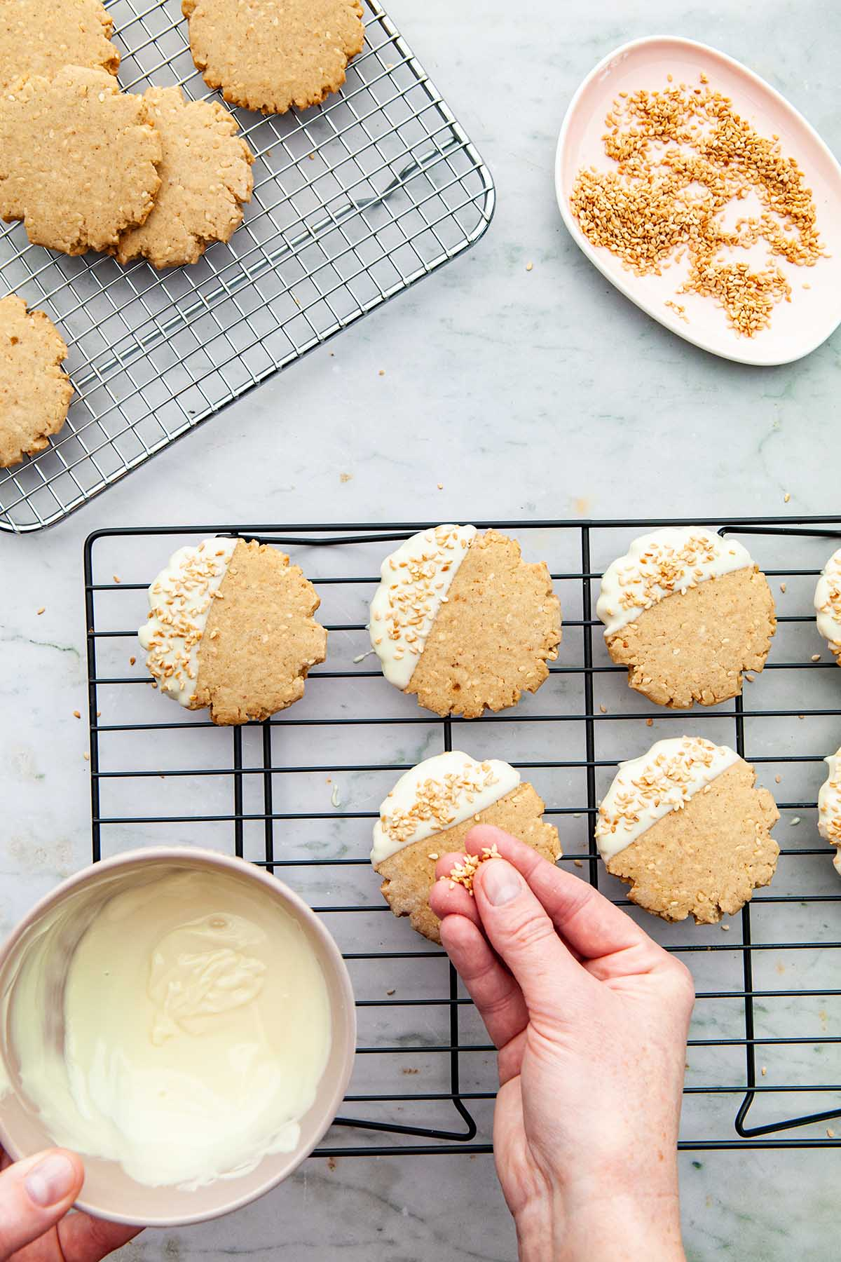A hand sprinkling sesame seeds onto cookies half-dipped in melted white chocolate.